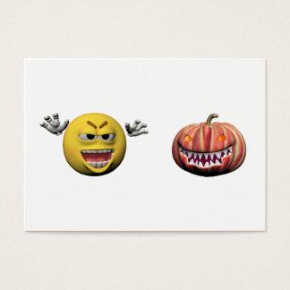 Cartes De Visite Émoticône jaune ou smiley de Halloween
