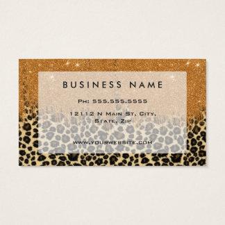 Cartes De Visite Empreinte de léopard avec la course de brosse de