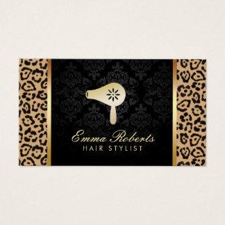 Cartes De Visite Empreinte de léopard moderne de logo de