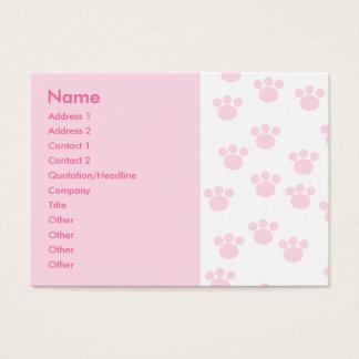 Cartes De Visite Empreinte de patte animal. Modèle rose-clair et