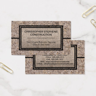Cartes De Visite Entreprise de construction concrète rustique