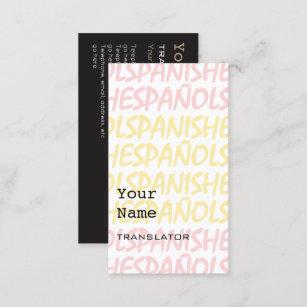 Cartes De Visite Espagnols Traducteur Ou