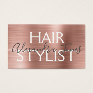 Cartes De Visite Et rose coiffeur balayé par or rose en métal