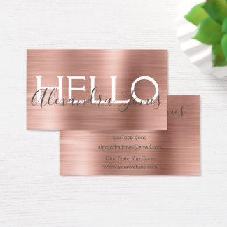 Cartes De Visite Et rose métal balayé par or rose bonjour