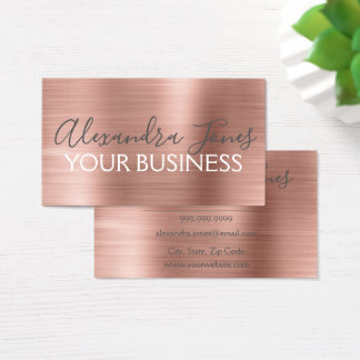 Cartes De Visite Et rose métal balayé par or rose élégant