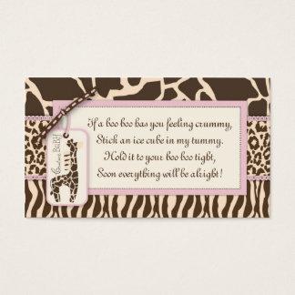 Cartes De Visite Étiquette B de cadeau de fille de safari