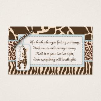 Cartes De Visite Étiquette B de cadeau de garçon de safari