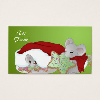 Cartes De Visite Étiquette de cadeau de 2 souris de Noël