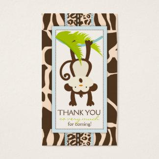 Cartes De Visite Étiquette de cadeau de Merci de singe de jungle