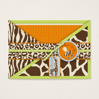 Cartes De Visite Étiquette de cadeau de vert de garçon de safari