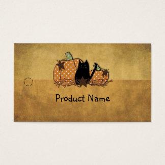 Cartes De Visite Étiquette de coup de chat et de citrouilles