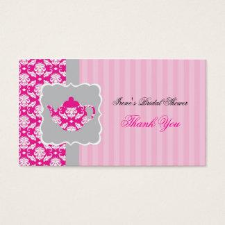 Cartes De Visite Étiquette de Merci de pot de thé (rose/gris)