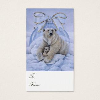 Cartes De Visite Étiquettes de cadeau d'ours blanc
