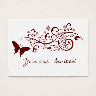 Cartes De Visite Faire-part de mariage rouge de papillon