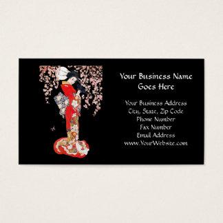 Cartes De Visite Femme asiatique avec la nuit de fleurs de cerisier