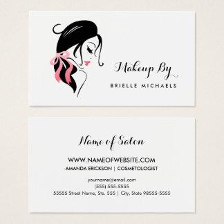 Cartes De Visite Femme de maquilleur avec les cils et l'arc rose