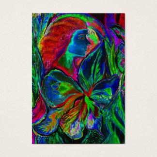Cartes De Visite Femme et fleur, couleurs profondes (m4sol)