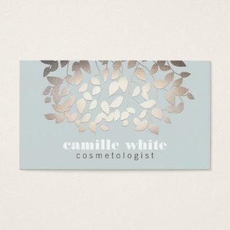 Cartes De Visite Feuille argenté élégant bleu-clair