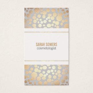 Cartes De Visite Feuille d'or de Faux de cosmétologie gris-clair