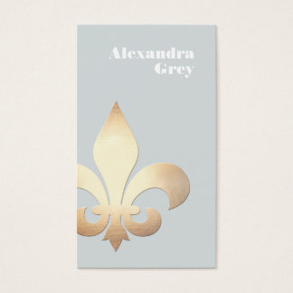 Cartes De Visite Feuille d'or élégante Fleur de Lis Light-grey