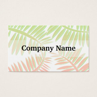 Cartes De Visite Feuille rose et vert de palmier de gradient