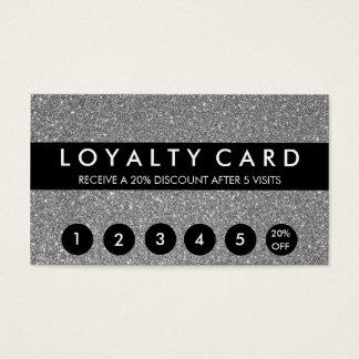 Cartes De Visite Fidélité argentée de client de scintillement