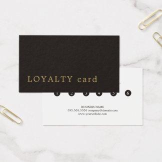 Cartes De Visite Fidélité noire moderne minimaliste de beauté d'or