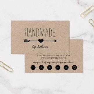 Cartes De Visite Fidélité rustique faite main du coeur | Papier