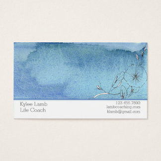 Cartes De Visite Fleur bleue de lavage d'aquarelle