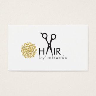 Cartes De Visite fleur moderne chic d'or de coiffeur simple