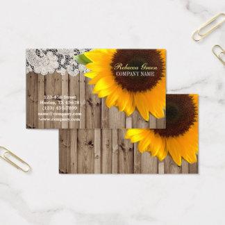 Cartes De Visite fleuriste jaune rustique de pays de dentelle de