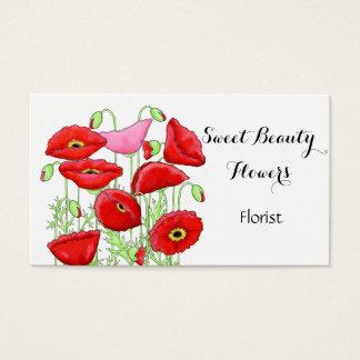Cartes De Visite Fleuriste rose rouge de coutume d'art de fleurs de