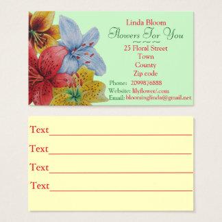 Cartes De Visite fleurit les fleuristes bleus jaunes rouges