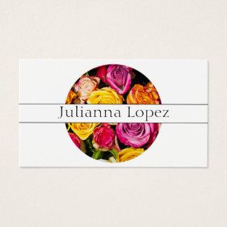 Cartes De Visite Fleurs colorées florales de roses féminines