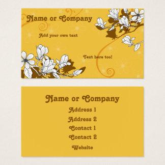 Cartes De Visite Fleurs de magnolia sur l'ambre lumineux
