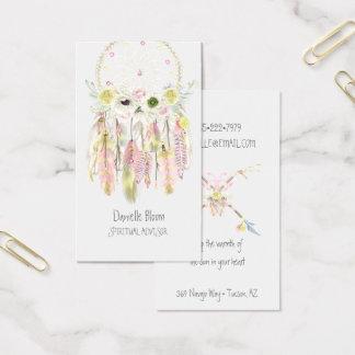 Cartes De Visite Fleurs rêveuses tribales de plumes de flèches de