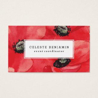 Cartes De Visite Fleurs rouges d'aquarelle des pavots |