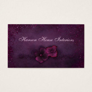 Cartes De Visite Fleurs vintages d'étincelle d'aubergine magenta