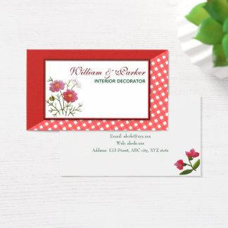 Cartes De Visite Fleurs vintages sur le guingan