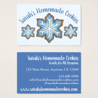 Cartes De Visite Flocon de neige bleu givré de neige d'hiver de