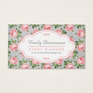 Cartes De Visite Floral minable et chic de rose de cru personnalisé