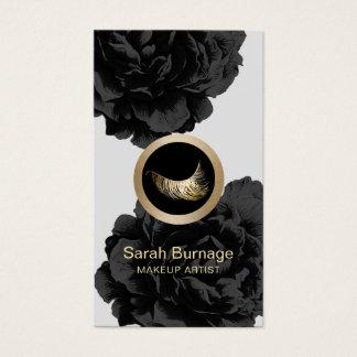 Cartes De Visite Floral noir élégant de logo fait sur commande de
