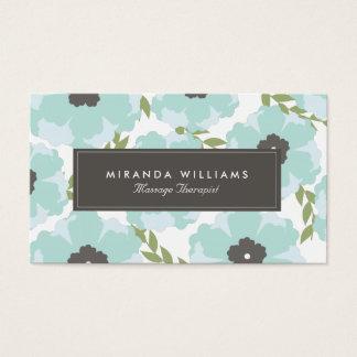 Cartes de visite floraux bleus élégants - Groupon