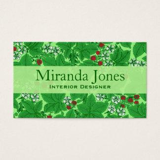 Cartes De Visite Fraises de Nouveau d'art et feuille, vert de chaux