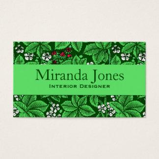 Cartes De Visite Fraises de Nouveau d'art et feuille, vert vert