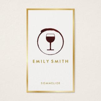 Cartes De Visite Frontière élégante d'or de Faux en verre de vin de