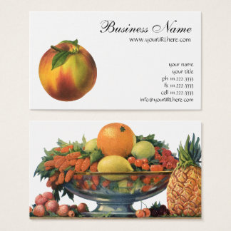 Cartes De Visite Fruit vintage de nourriture, pêche organique mûre