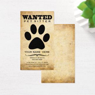 Cartes De Visite garde d'enfants voulue d'animal familier