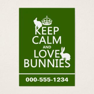 Cartes De Visite Gardez le calme et aimez les lapins - toutes les