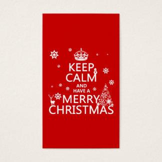 Cartes De Visite Gardez le calme et ayez un Joyeux Noël